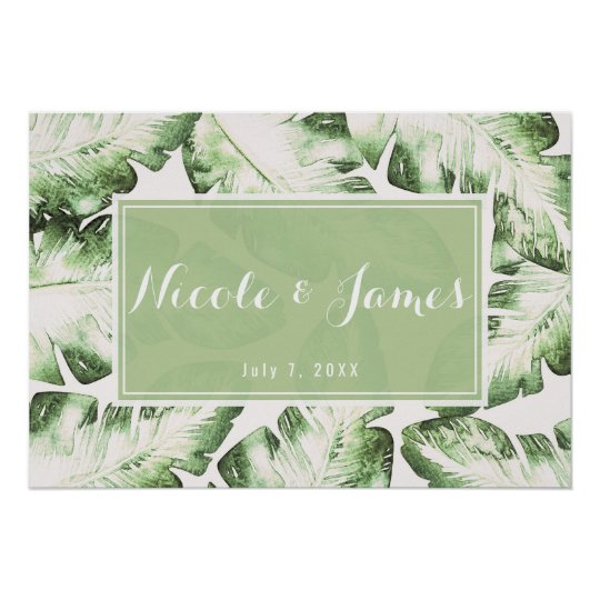 Elegant White Green Tropical Leaves Wedding Banner Poster