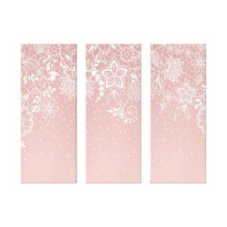 Elegant white lace floral and confetti design canvas print