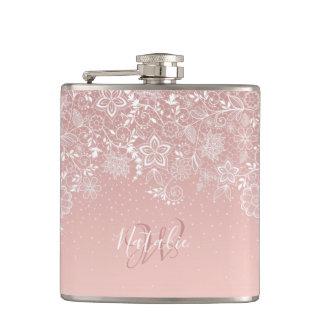 Elegant white lace floral and confetti design hip flask