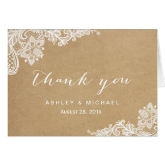 Elegant White Lace in Kraft Thank You Card