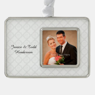 Elegant White Lace Silver Plated Framed Ornament