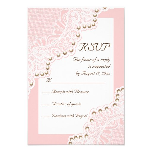Elegant white lace with pearls pink wedding RSVP Invitations