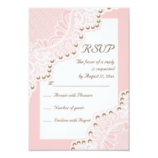 Elegant white lace with pearls pink wedding RSVP 3.5x5 Paper Invitation Card