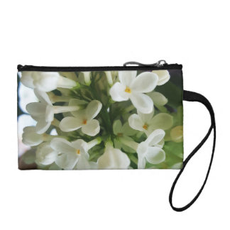 Elegant white lilac blossom photo coin purse