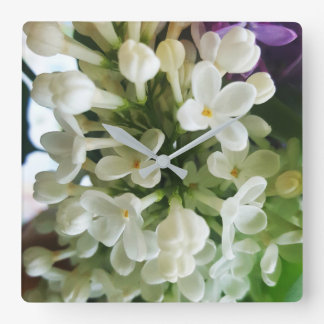 Elegant white lilac blossom photo square wall clock