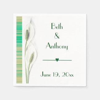 Elegant White Lily Wedding Disposable Napkin