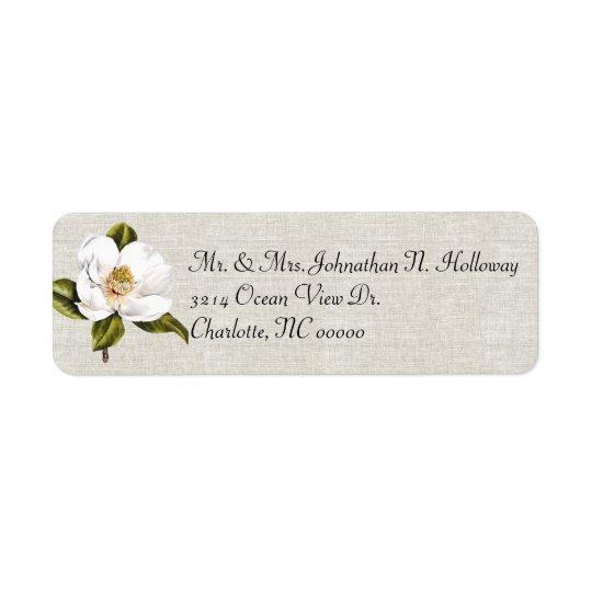 Elegant White Magnolia & Linen Return Return Address Label