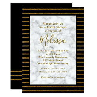 Elegant White Marble,Black And Gold Bridal Shower Card