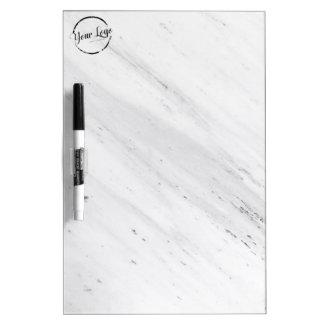Elegant white marble custom logo dry erase board