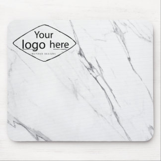Elegant white marble custom logo mouse pad