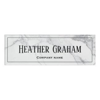 Elegant white marble custom name tag