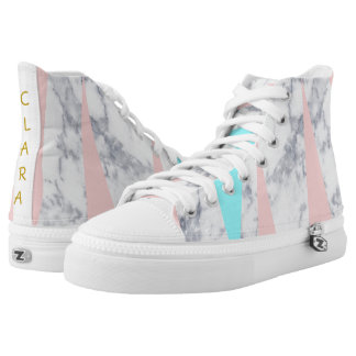 elegant white marble geometric triangles pink mint high tops