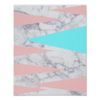 elegant white marble geometric triangles pink mint poster