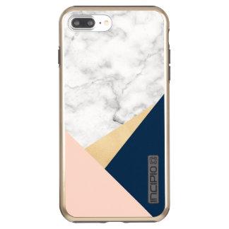 elegant white marble gold peach blue color block incipio DualPro shine iPhone 7 plus case