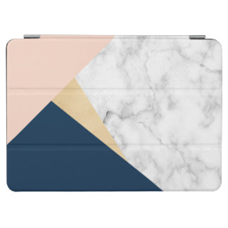 elegant white marble gold peach blue color block iPad air cover