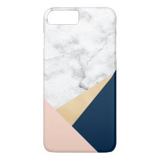 elegant white marble gold peach blue color block iPhone 7 plus case