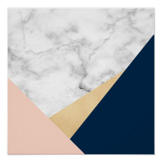 elegant white marble gold peach blue color block poster