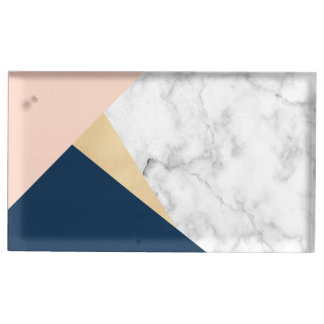 elegant white marble gold peach blue color block table card holder