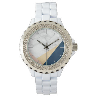 elegant white marble gold peach blue color block wristwatch