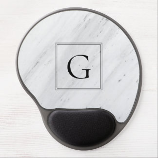 Elegant white marble monogram gel mouse pad
