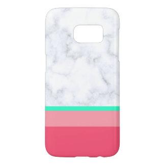 elegant white marble pastel pink melon mint