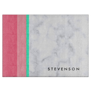 elegant white marble pastel pink melon mint cutting board
