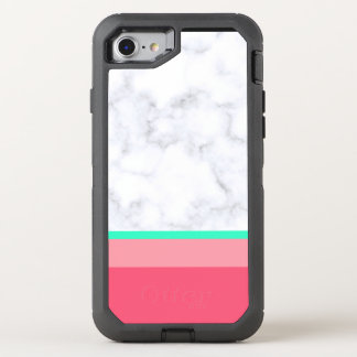 elegant white marble pastel pink melon mint OtterBox defender iPhone 8/7 case