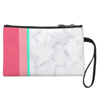 elegant white marble pastel pink melon mint wristlet
