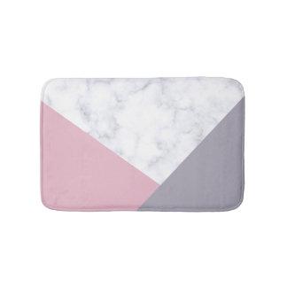 elegant white marble pastel pink purple geometric bath mat