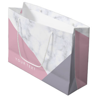 elegant white marble pastel pink purple geometric large gift bag