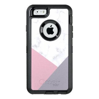 elegant white marble pastel pink purple geometric OtterBox defender iPhone case