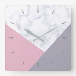 elegant white marble pastel pink purple geometric square wall clock