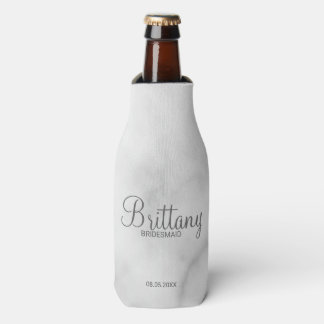 Elegant White Marble Personalized Bridesmaids Bottle Cooler