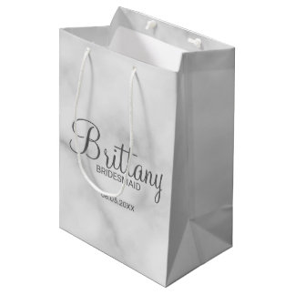 Elegant White Marble Personalized Bridesmaids Medium Gift Bag