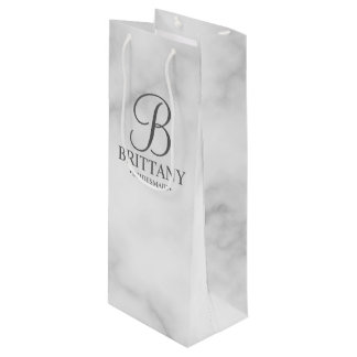 Elegant White Marble Personalized Bridesmaids Wine Gift Bag