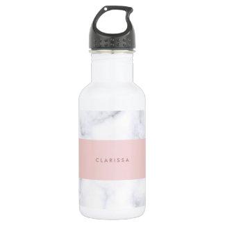 elegant white marble rose gold faux strip 532 ml water bottle