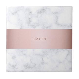 elegant white marble rose gold faux strip ceramic tile