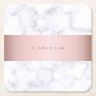 elegant white marble rose gold faux strip square paper coaster
