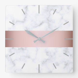elegant white marble rose gold faux strip square wall clock