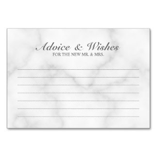 Elegant White Marble Wedding Advice and Wishes Card