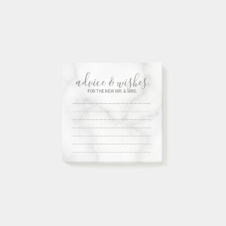 Elegant White Marble Wedding Advice and Wishes Post-it Notes
