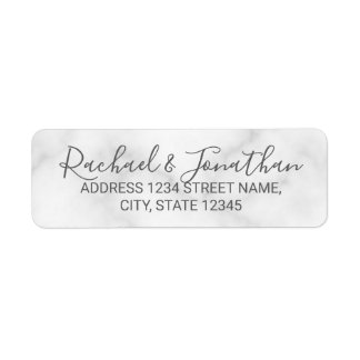 Elegant White Marble Wedding Return Address Label