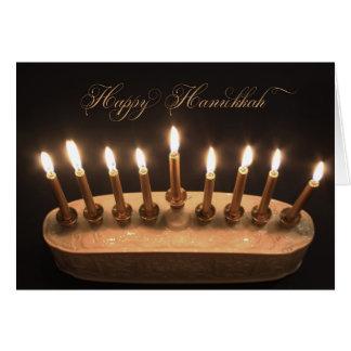 Elegant white menorah gold candles Hanukkah card