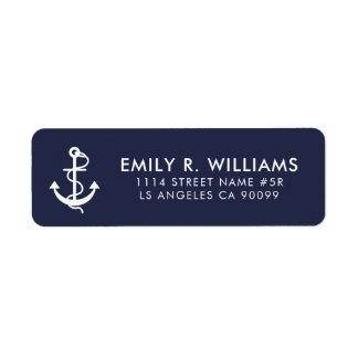 Elegant White Nautical Anchor Return Address Label