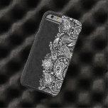 Elegant White On Black  Vintage Paisley Lace Tough iPhone 6 Case