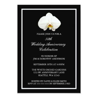 Elegant White Orchid 50th Wedding Anniversary 13 Cm X 18 Cm Invitation Card