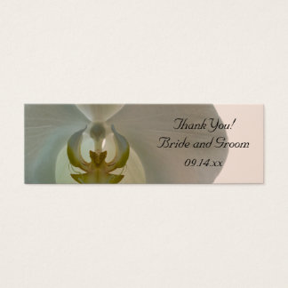 Elegant White Orchid Wedding Favor Tags Mini Business Card
