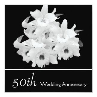 Elegant White Orchids 50th Anniversary Invitation