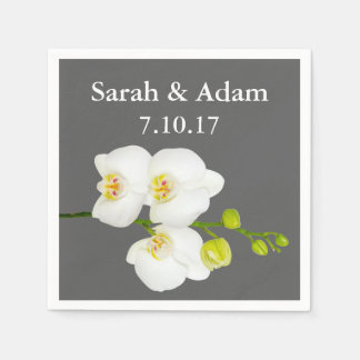 Elegant White Orchids & Medium Grey Wedding Paper Serviettes