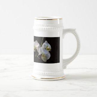 Elegant White Orchids on Black Mug